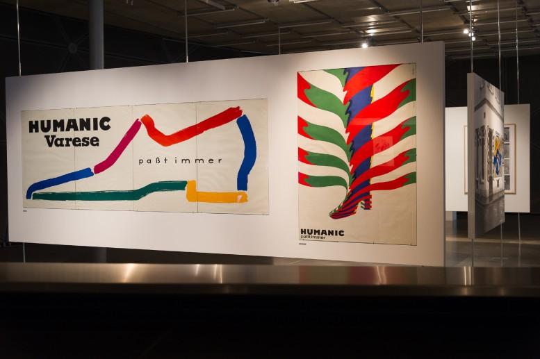 Ausstellungsansicht mit den legendären HUMANIC-Plakaten (Foto: UMJ / N. Lackner)