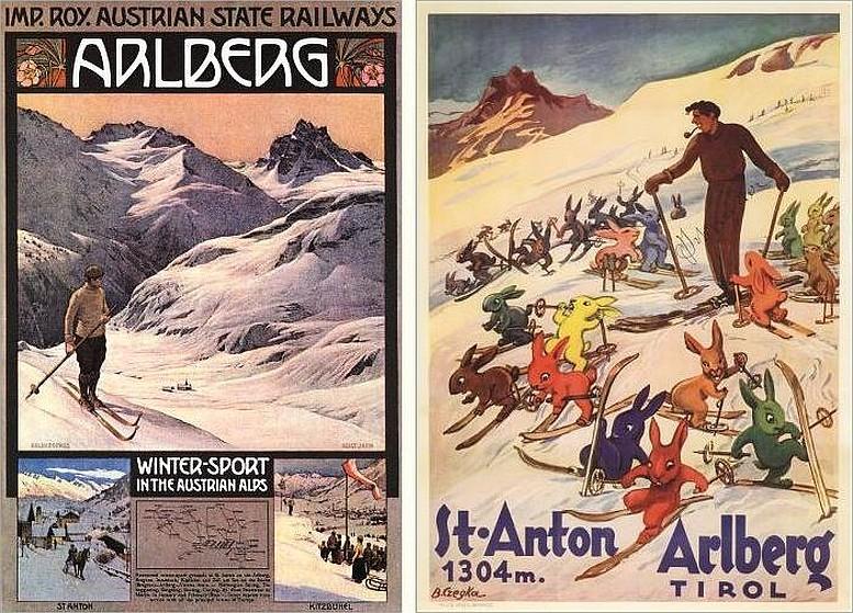 """Links: Gustav Jahn, um 1908 / Rechts: Berta Czegka, Plakat, das den Schilehrer Hannes Schneider im Kreise seiner """"Schihasen"""" zeigt, um 1930"""