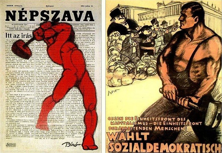 Links: Plakat für die Zeitung der ungarischen Sozialdemokraten, 1912 / Rechts: 1912 Plakat für die österreichische Nationalratswahl, 1920