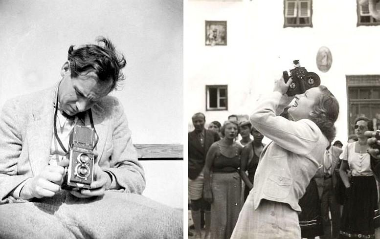 Links: Robert Haas, Selbstporträt mit Rolleiflex, Wien 1935 / Rechts: Robert Haas, Marlene Dietrich bei den Salzburger Festspielen, 1936/37 (Beide Abbildungen: © Wien Museum/Sammlung Robert Haas)