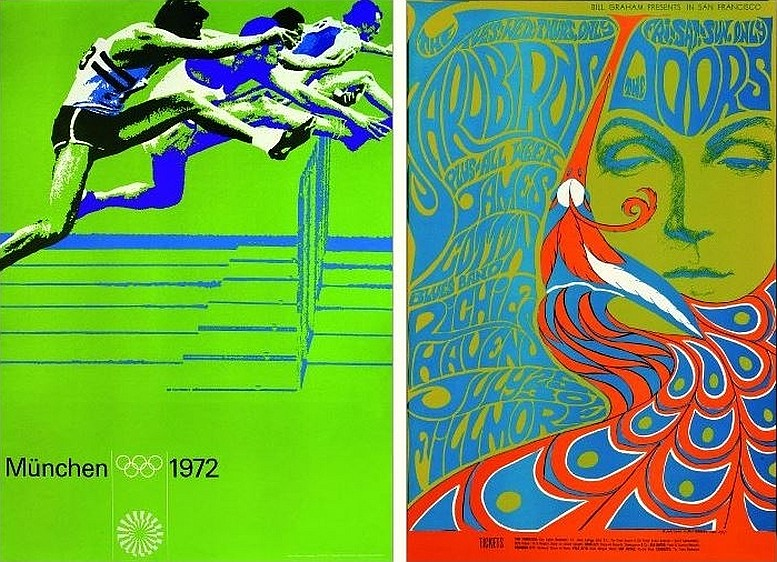 Otl Aicher, Plakat, 1971 (© International Olympic Commitee) Bonnie MacLean, Plakat, 1967 (© Museum für Gestaltung, Zürich)