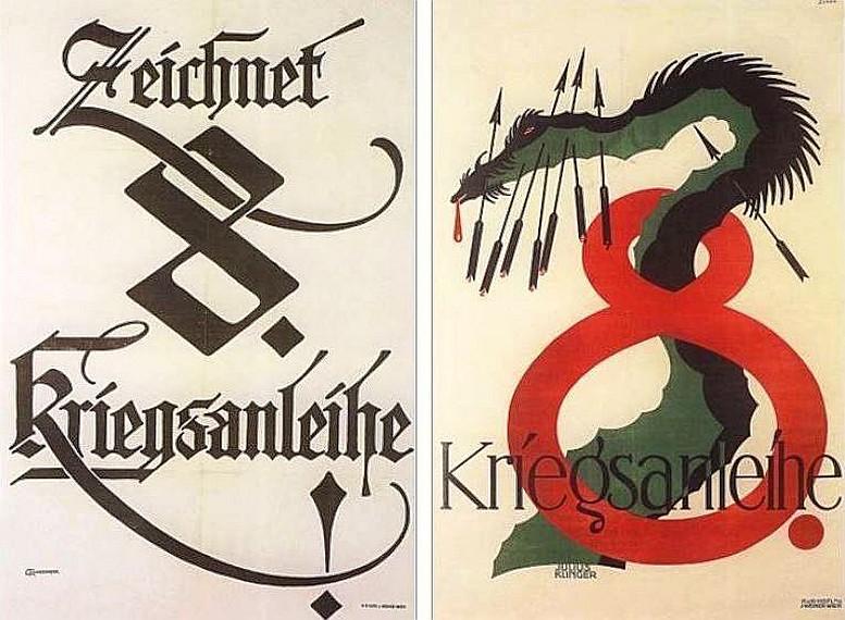 Links: Emil Ranzenhofer, 1918 Rechts: Julius Klinger, 1918