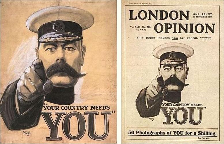 Originalentwurf von Alfred Leete, 1914 Cover des London Opinion, 1914
