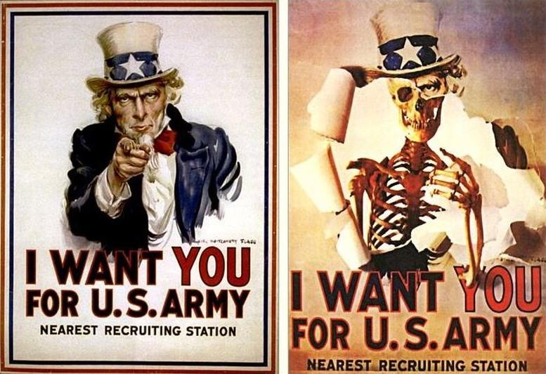Rekrutierungsplakat von James Montgomery Flagg, 1917 Anti-Vietnamkriegs-Plakat