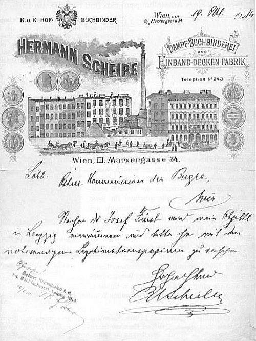 Briefpapier der Firma Hermann Scheibe mit dem Fabriksensemble in der Marxergasse am Briefkopf nach einer Lithografie von Eduard Steger
