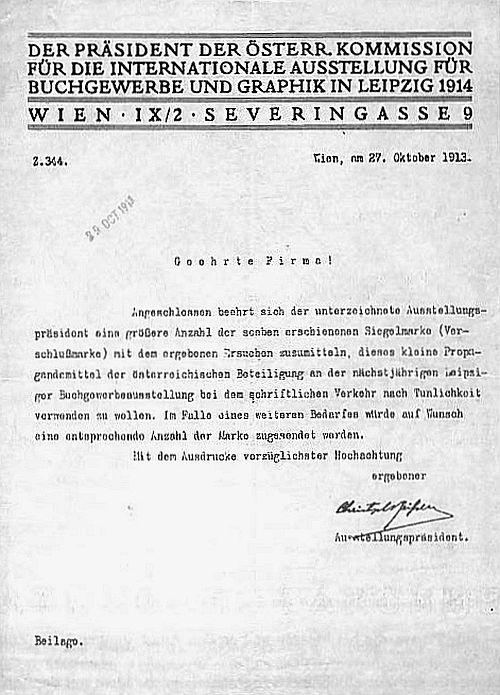 Briefpapier der Österreichischen Kommission für die Bugra