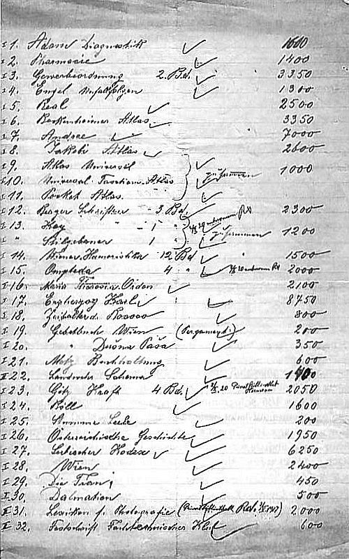 Handschriftliche Liste der Ausstellungsexponate der Firma Hermann Scheibe für die Bugra