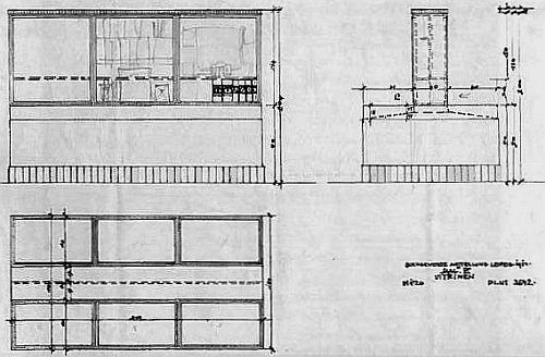 Planpause für die Vitrinen der Bugra nach einem Entwurf von Josef Hoffmann