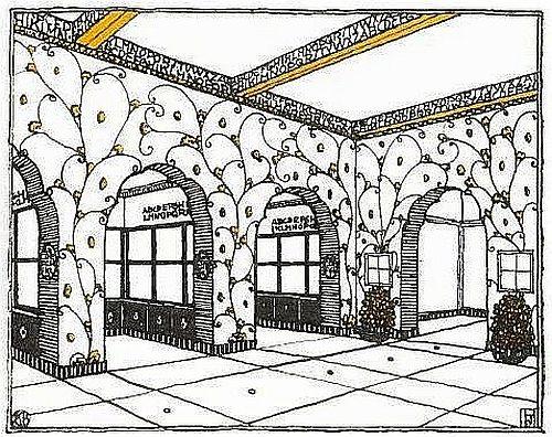 Skizze der Raumgestaltung für den Saal III des österreichischen Hauses der Bugra aus dem österreichischen Katalog. Entwurf: Josef Hoffmann, Zeichnung: Carl Bräuer
