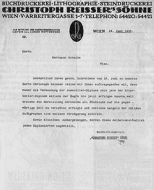 Briefpapier der Druckerei Chistoph Reisser