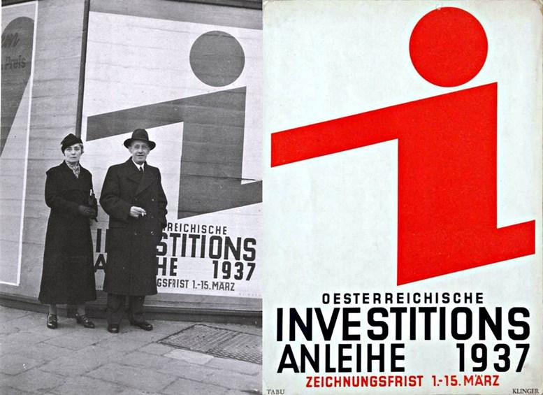 """Links: Foto des Ehepaares Klinger, 1937, © MAK / Rechts: Plakat """"Österreichische Investitionsanleihe 1937"""""""