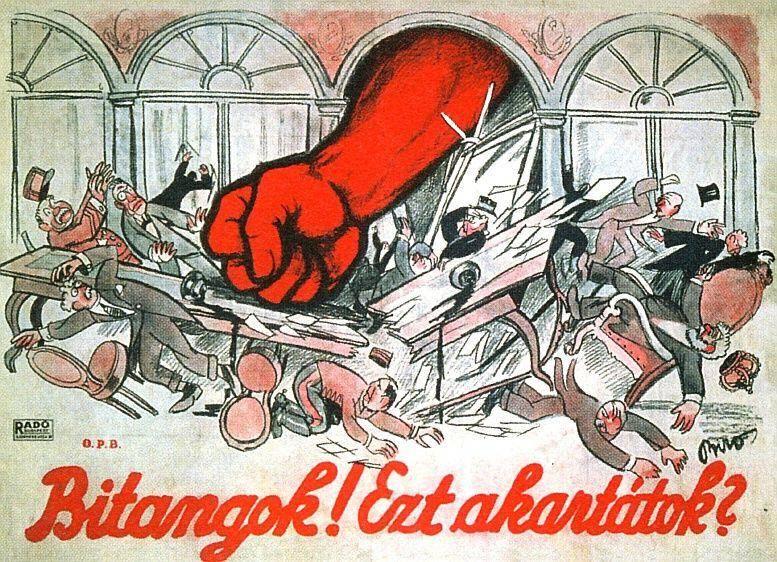 """""""Ihr Schurken! Habt Ihr das gewollt?"""", Plakat zu den Auswirkungen der Deklaration der Ungarischen Räterepulik auf die Pariser Friedenskonferenz, 1919"""
